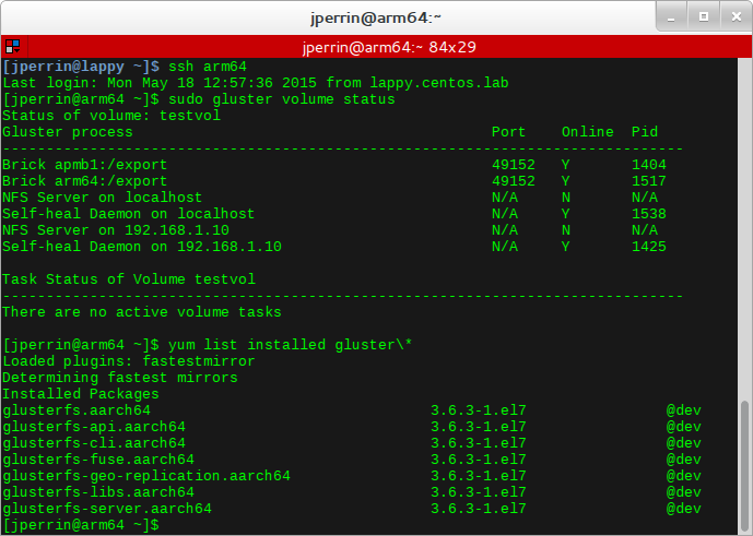 gluster volume status and installed packages