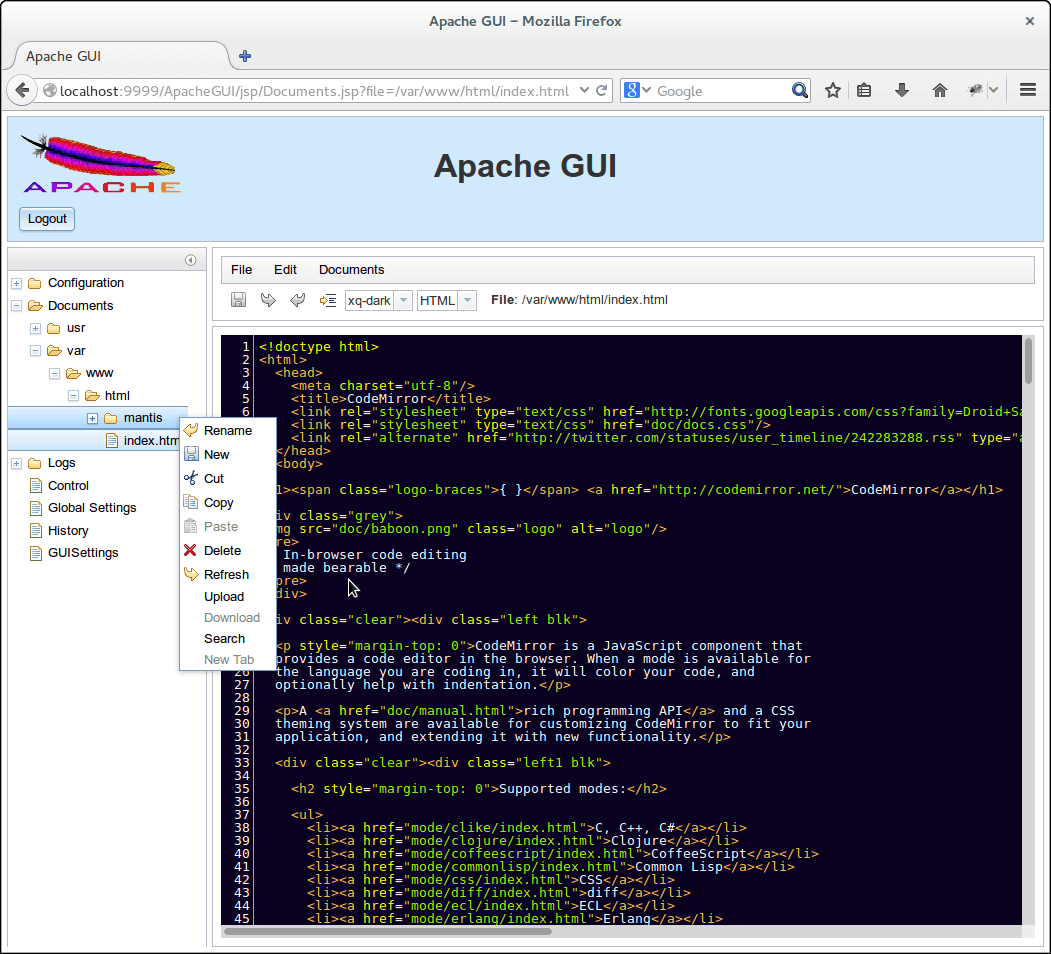 Apache Web Administartion Tool