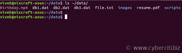 List all files in Linux using ls command
