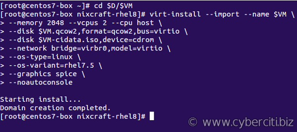 Create VM using the qcow2