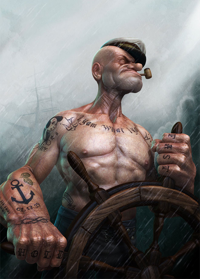 Popeye At The Helm by Lee Romao