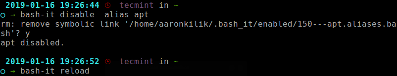 Disable Aliases in Linux