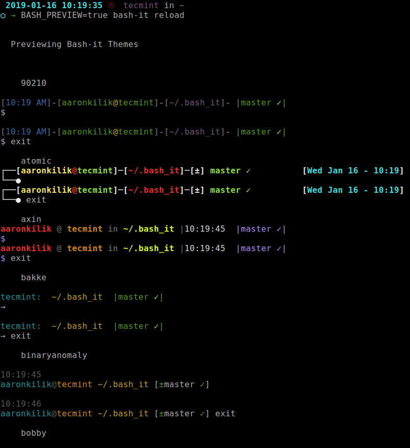 Preview All Bash-It Themes