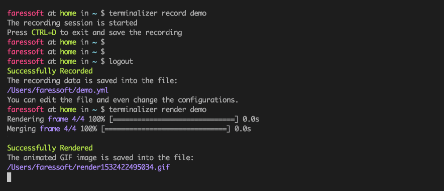 Terminalizer - Record Linux Terminal and Generate Animated Gif Images