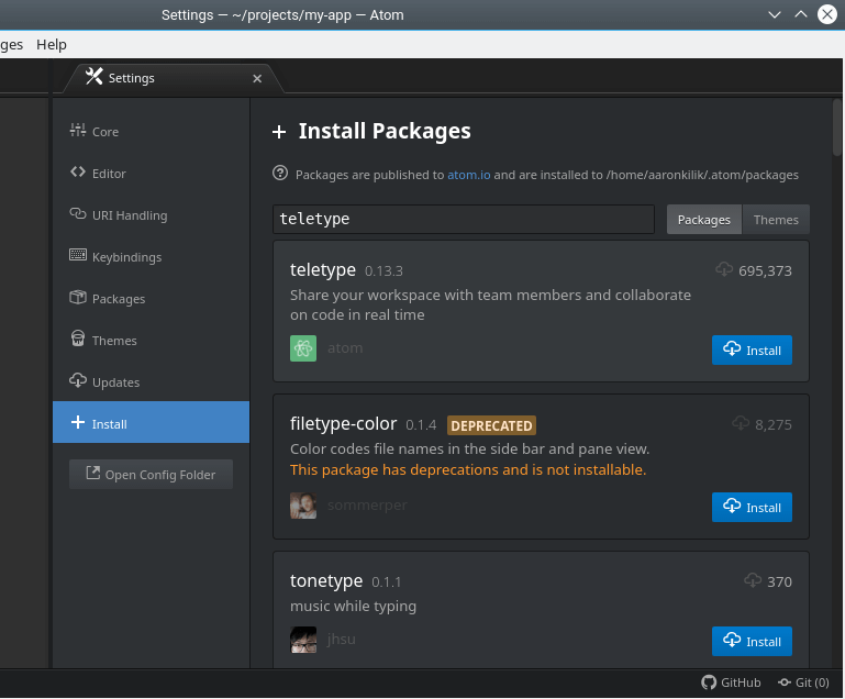 Install Packages in Atom