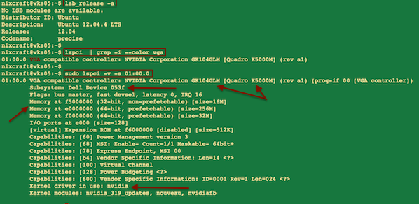 Fig.01: lspci in action - displaying Dell laptop Nvidia graphics card info