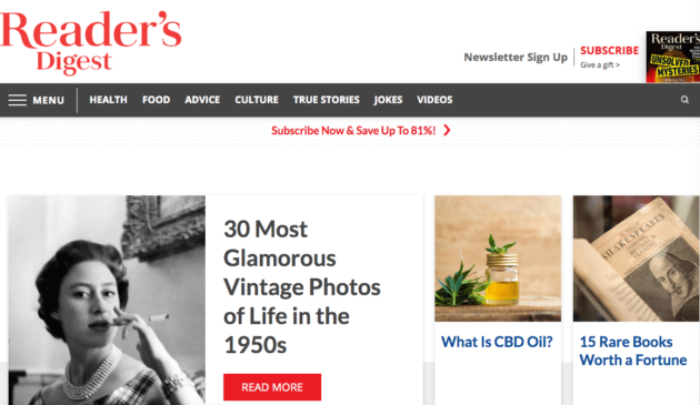 The Reader's Digest Homepage.