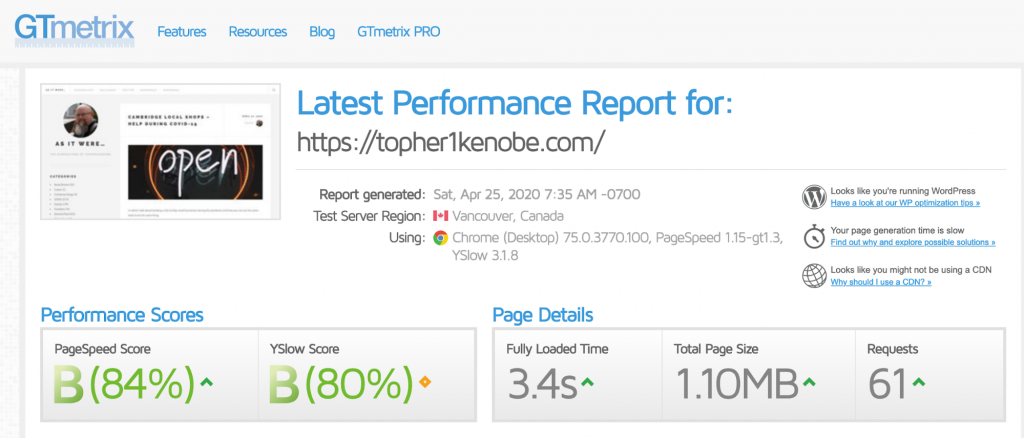 Topher personal website: GTMetrix results with the host's built-in caching ?