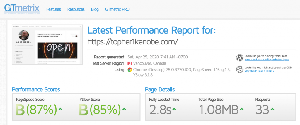 Topher personal website: GTMetrix results with WP Rocket only ?