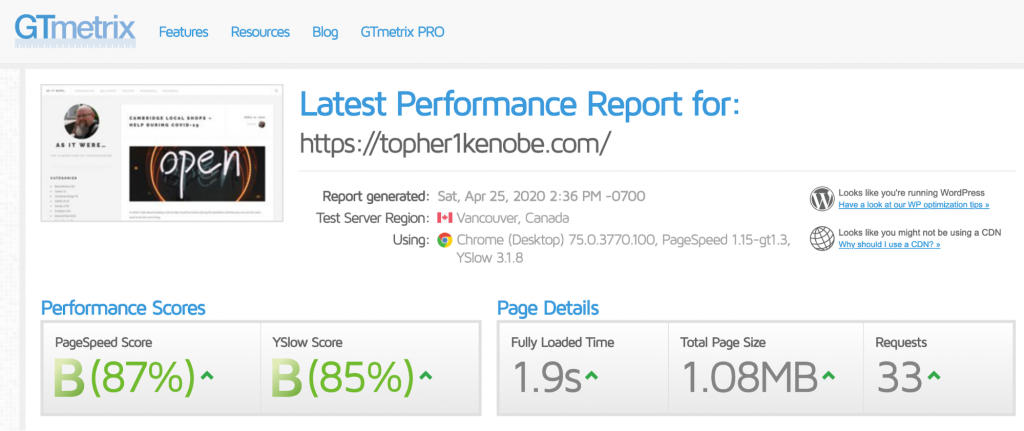 Topher personal website: GTMetrix results with WP Rocket + Memcache
