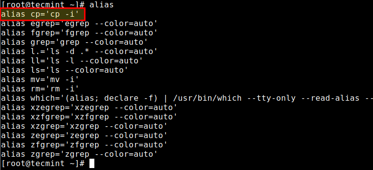View All Linux Aliases