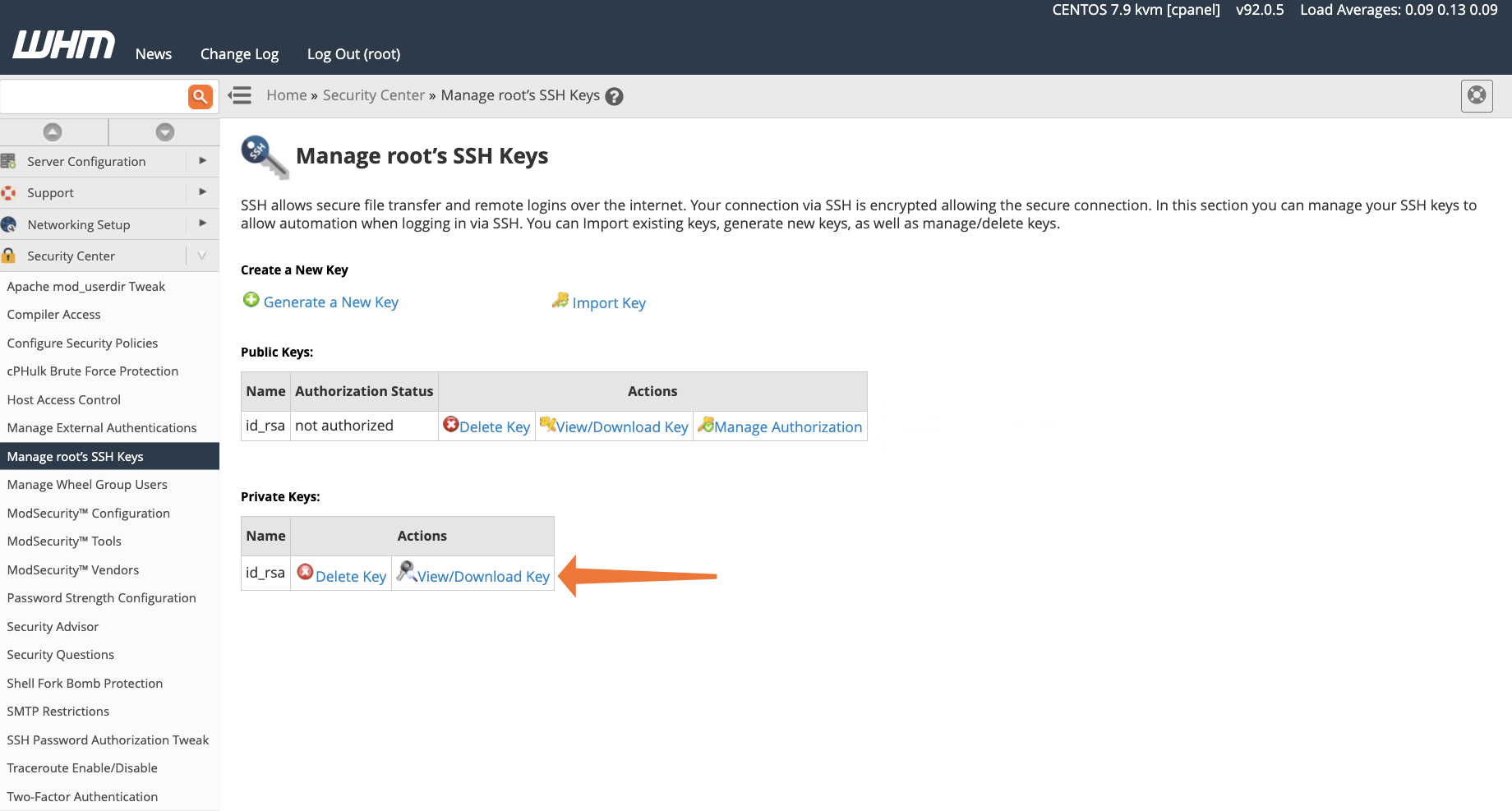 cPanel View Root SSH Key