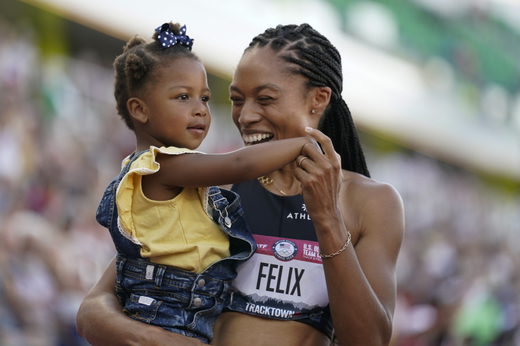 Allyson Felix with Her Daughter